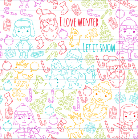Children and winter games, ski, sled, ice skating, Santa Claus, snowman, deer, penguin. Christmas activities on colorful stencil doodle on lined paper.