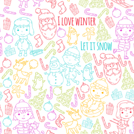Children and winter games, ski, sled, ice skating, Santa Claus, snowman, deer, penguin. Christmas activities on colorful stencil doodle on white background.