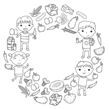 Healthy food in circle with kindergarten kids vector illustration. Healthy food concept