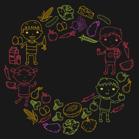 Healthy food in circle with kindergarten kids vector illustration. Healthy food concept