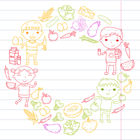 School kids eat healthy food illustration.