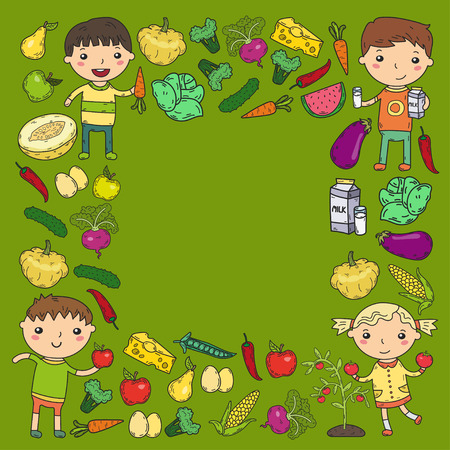 A Kindergarten Nursery Preschool School kids eat healthy food Boys and girls with fruits and vegetables. Children cafe, menu, restaurant. Vitamins.