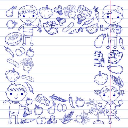 A Kindergarten Nursery Preschool School kids eat healthy food Boys and girls with fruits and vegetables. Children cafe, menu, restaurant. Vitamins.