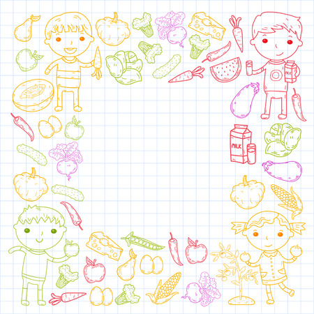 Healthy food in square shape with kindergarten kids vector illustration. Healthy food concept Çizim