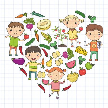 Comida sana en forma cuadrada con niños de jardín de infancia ilustración vectorial. Concepto de comida sana
