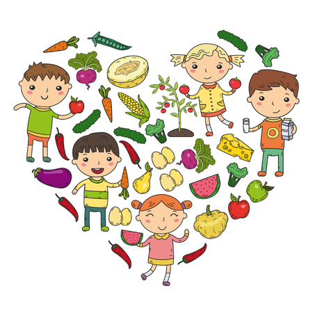 Healthy food in heart shape with kindergarten kids vector illustration. Healthy food concept