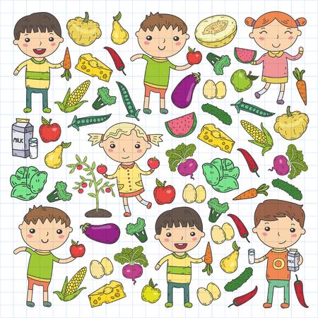 Kindergarten Nursery Preschool School kids eat healthy food Boys and girls with fruits and vegetables. Children cafe, menu, restaurant. Vitamins. Vectores