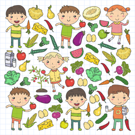 Kindergarten Nursery Preschool School kids eat healthy food Boys and girls with fruits and vegetables. Children cafe, menu, restaurant. Vitamins. Çizim