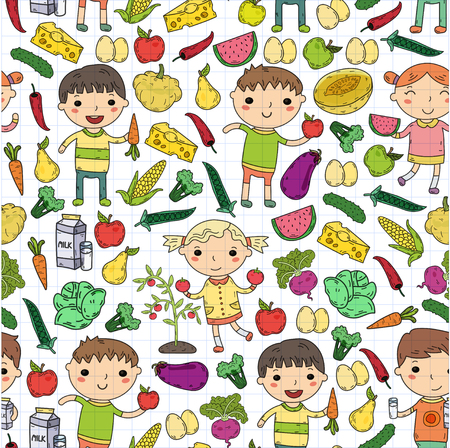 A Kindergarten Nursery Preschool School kids eat healthy food Boys and girls with fruits and vegetables.