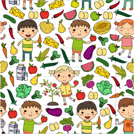 Healthy food with kindergarten kids vector illustration. Healthy food concept