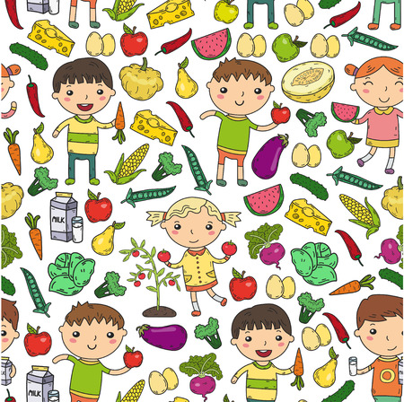 Kindergarten Nursery Preschool School kids eat healthy food Boys and girls with fruits and vegetables. Children cafe, menu, restaurant. Vitamins. Illustration