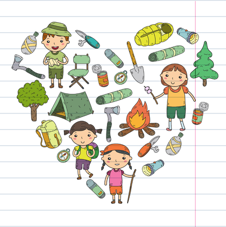 Vector illustration of kindergarten kids in heart shape going camping concept