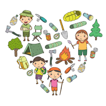 Camping. Summer vacation. Boys and girls. Kindergarten children. School students Young scouts. Wood. Forest. Fire Adventure and exploration