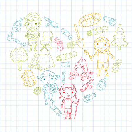 Vector illustration of kindergarten kids in heart shape going camping concept