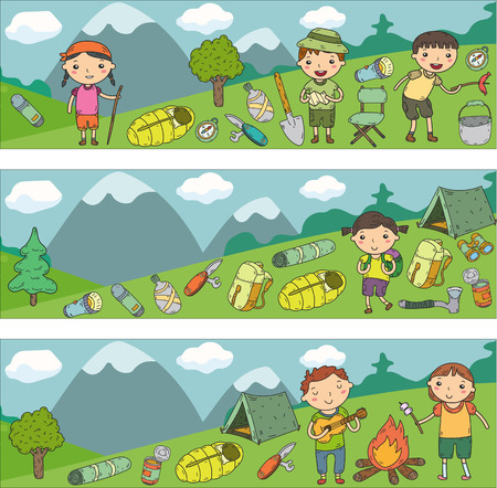 Vector illustration of kindergarten kids going camping concept