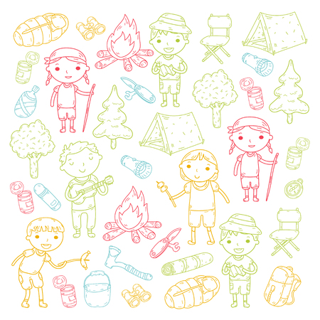 Vector illustration of kindergarten kids going camping concept