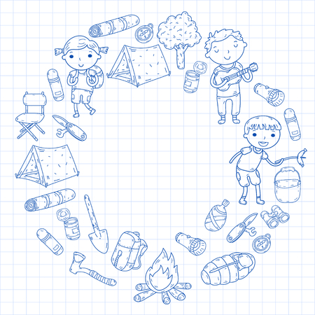 Vector illustration of kindergarten kids in circle shape going camping concept Illustration