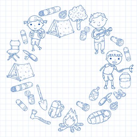 Vector illustration of kindergarten kids in circle shape going camping concept Ilustração