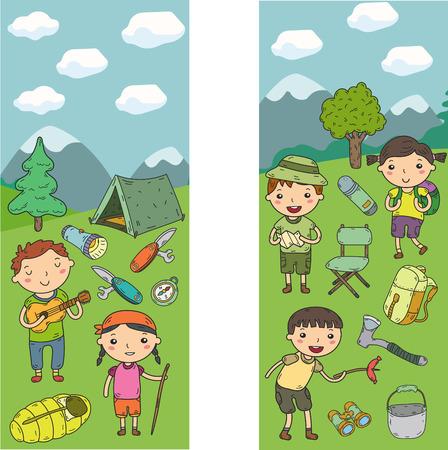 Vector illustration of kindergarten kids going camping in concept