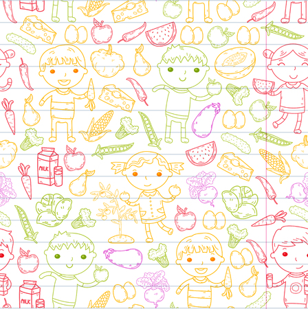 Healthy food with kindergarten kids vector illustration. Healthy food concept