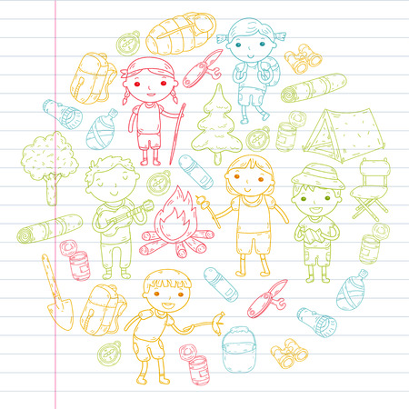 Camping. Summer vacation. Boys and girls. Kindergarten children. School students. Young scouts. Wood. Forest. Fire. Adventure and exploration. Illustration