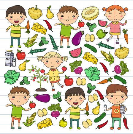 A Kindergarten Nursery Preschool School kids eat healthy food Boys and girls with fruits and vegetables.