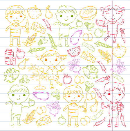 A Kindergarten Nursery Preschool School kids eat healthy food Boys and girls with fruits and vegetables