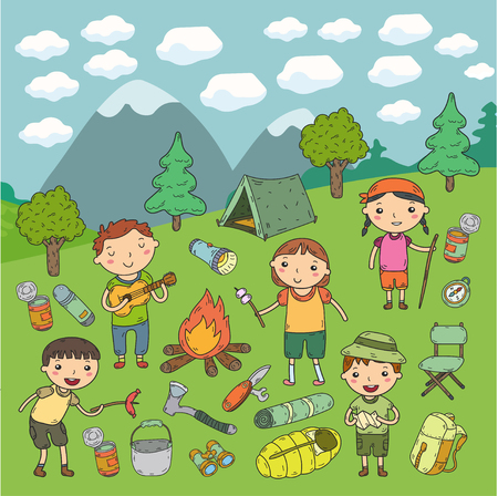 Camping. Summer vacation. Boys and girls. Kindergarten children. School students. Young scouts. Wood. Forest. Fire. Adventure and exploration. Stock Photo