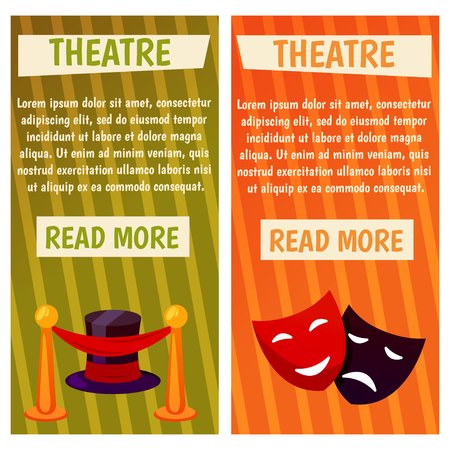 Vector banner with theatre icons Flat illustration design. For tourism infographic Çizim