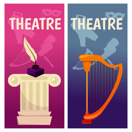 Vector banner with theatre icons Flat illustration design