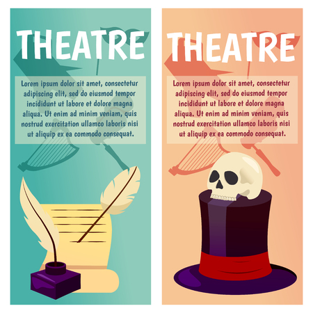 Vector banner with theater icons set vector illustration. Çizim