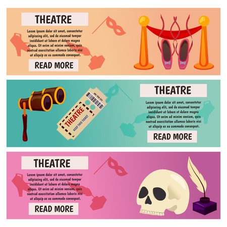 Vector banner with theatre icons Flat illustration design. For tourism infographic Vectores