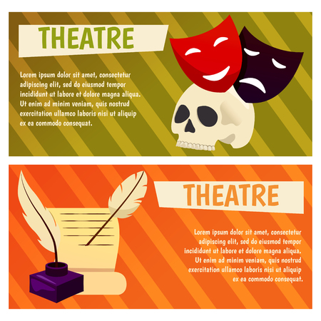 Vector banner with theatre icons Flat illustration design. For tourism infographic Illustration