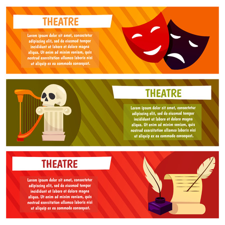 Vector banner with theatre icons.Icons such as  skull, lyre, lira, harp, feather, scenario, script, screenplay, continuity, book, photoplay, top-hat, high-hat and cylinder