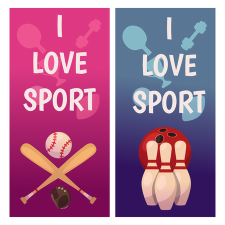 A Vector banners with sport icons. Baseball and bowling image