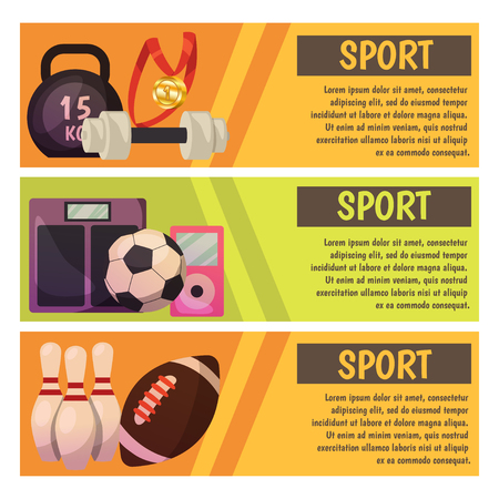 Vector banners with sport icons baseball, bowling, fitness, rugby, and football illustration Stock Vector - 97551897