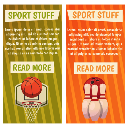 Vector banners with sport icons of bowling, basketball ready made poster with basket, ball, skittles. Illustration