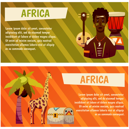 Africa, Travel to exotic continent. Banners with vector icons Иллюстрация