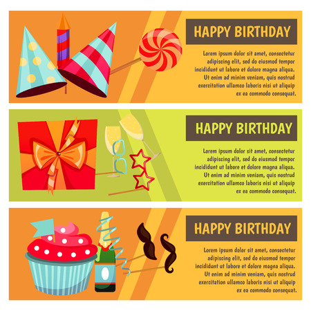 Birthday party. Banners for birthday party, cafe, restaurant. Vector flat design.