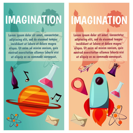 Vector banners. Imagination and exploration. Science and research. Rocket launch. Discovery new world, start new business