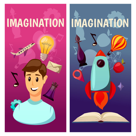 Imagination and exploration vector banners. Science and research. Rocket launch. Discovery new world, start new business. Foto de archivo - 97109484