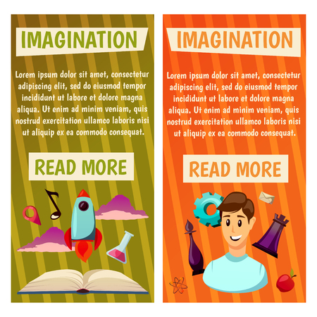 Imagination and exploration vector banners. Science and research. Rocket launch. Discovery new world, start new business.