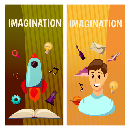 A Vector banners. Imagination and exploration. Science and research. Rocket launch. Discovery new world, start new business
