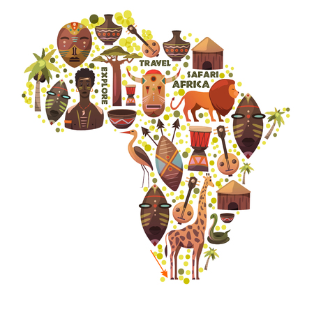 Map of Africa with vector icons.