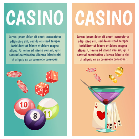 Flat banners with casino icons.