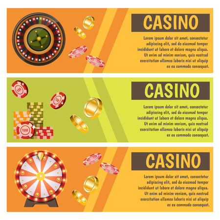 Vector flat banners with casino icons.