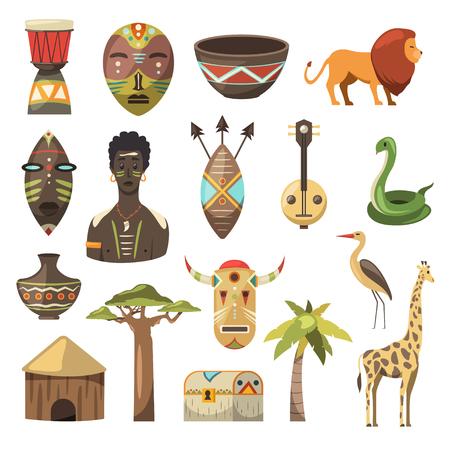 Frica. Imágenes africanas Iconos vectoriales Jirafa, máscara, hombre, serpiente, florero, león, casa, palma, baobab Foto de archivo - 97041843