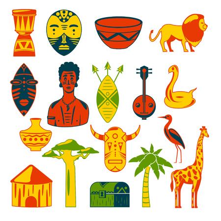 Africa. African images. Vector icons. Giraffe, mask, man, snake, vase, lion, house, palm, baobab Vettoriali