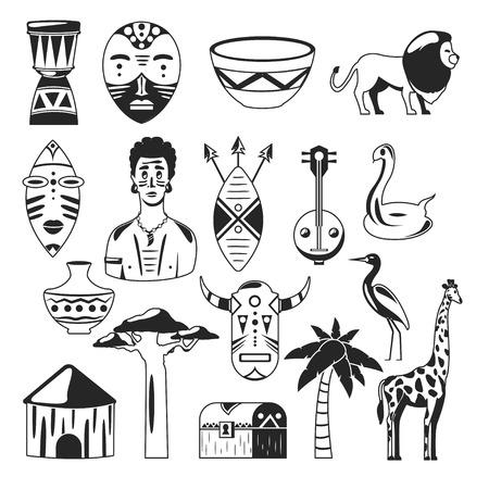 Africa. African images. Vector icons. Giraffe, mask, man, snake, vase, lion, house, palm, baobab Stock Illustratie