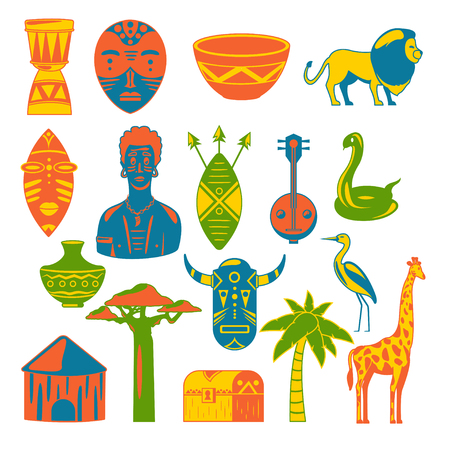 Africa. African images. Vector icons. Giraffe, mask, man, snake, vase, lion, house, palm, baobab Illustration